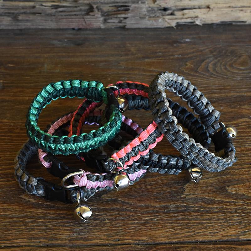 Knots 4 Kritters - cobra weave 2 color paracord cat collar