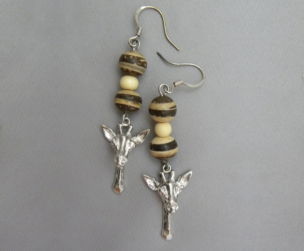 Michele's Wearable Art - Giraffe Head with Wood Beads Earrings