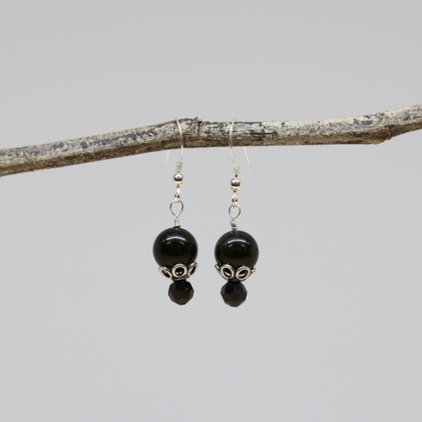 Michele's Wearable Art - Black Onyx Earrings