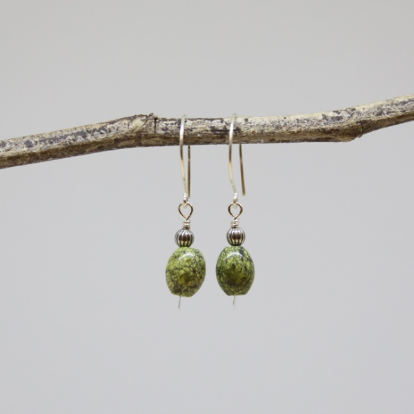 Michele's Wearable Art - Green Serpentine Stone Drops