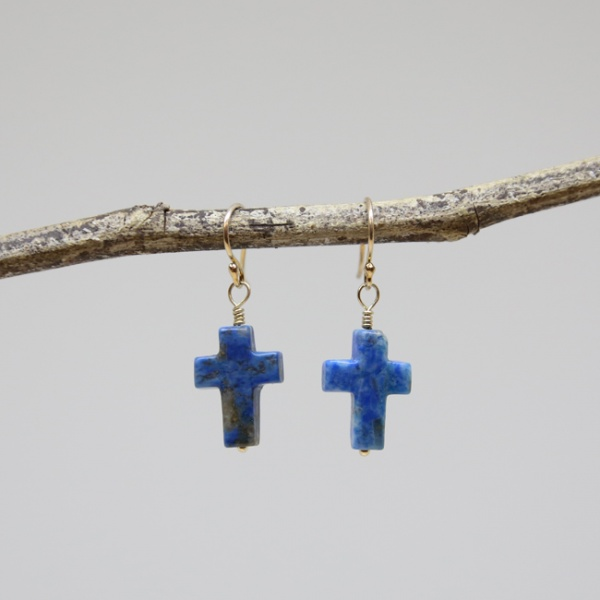 Michele's Wearable Art - Blue Lapis Cross Earrings
