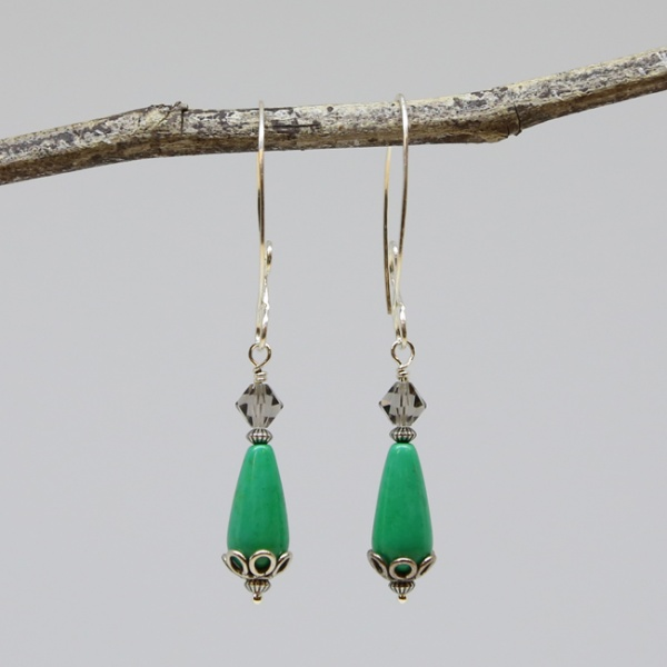 Michele's Wearable Art - Teal Green Magnesite Teardrop and Crystal Drops