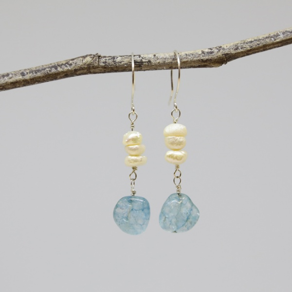 Michele's Wearable Art - Blue Quartz and Pearl Earrings