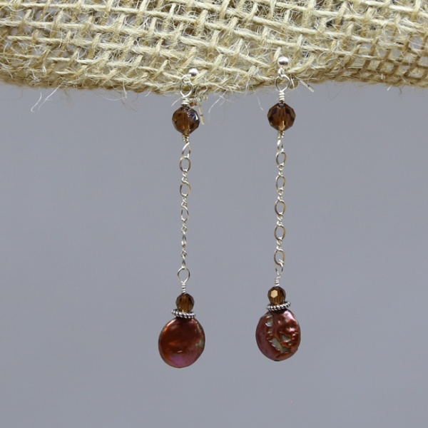 Michele's Wearable Art - Copper-Colored Pearl and Crystal Studs