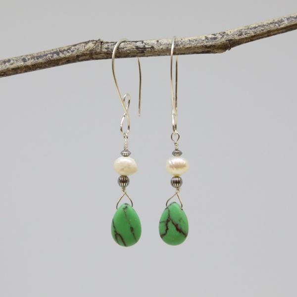 Michele's Wearable Art - Green Magnesite and Pear Drops