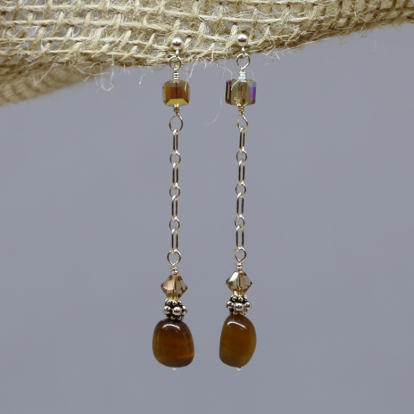 Michele's Wearable Art - Tigereye Nugget with Amber Crystal Studs