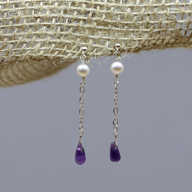 Michele's Wearable Art - Amethyst and Swarovski Pearl Drops