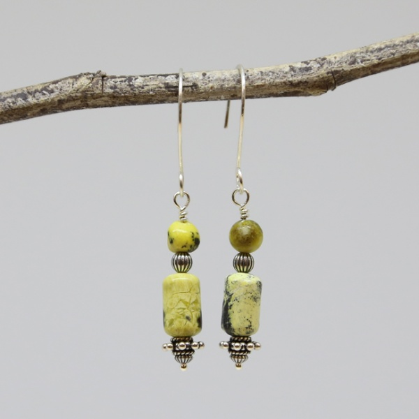Michele's Wearable Art - Yellow Turquoise Dangles