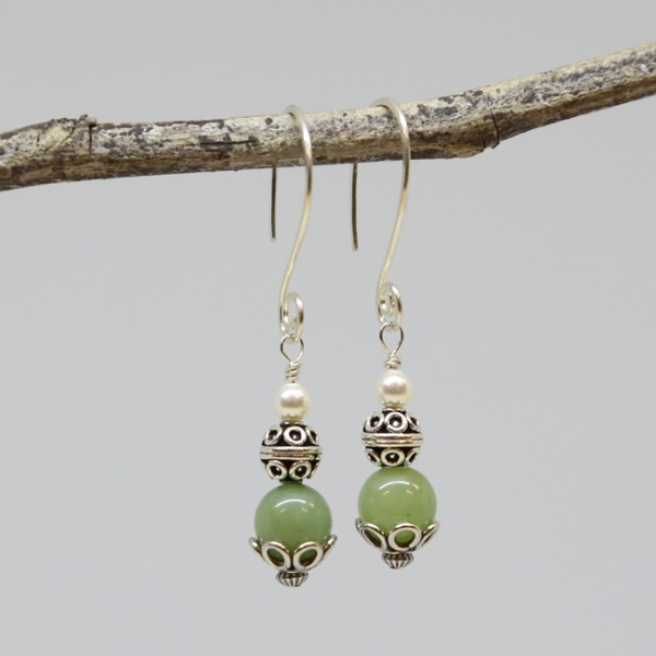 Michele's Wearable Art - Green Aventurine Earrings