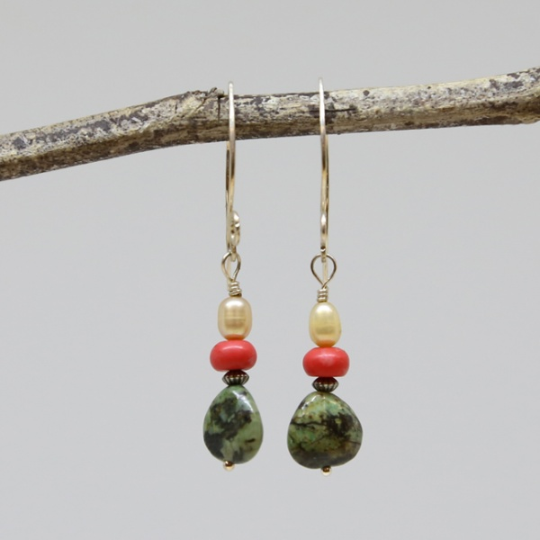 Michele's Wearable Art - African Turquoise, Coral and Pearl Earrings