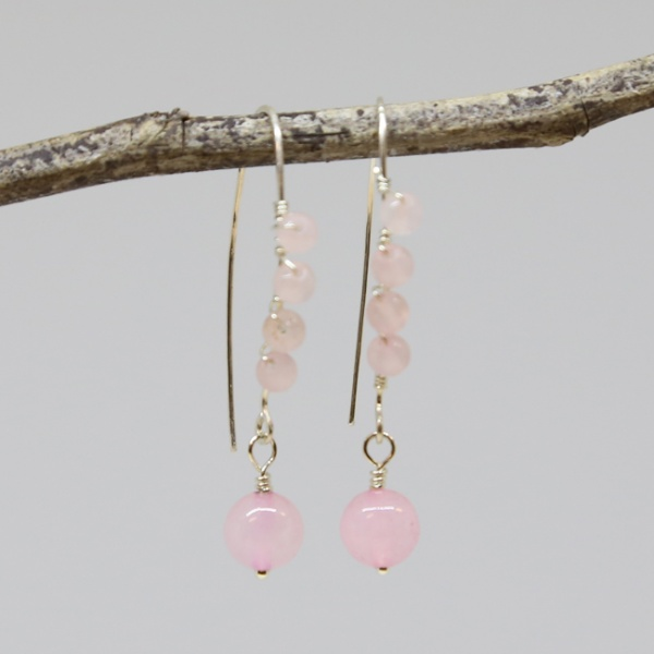Michele's Wearable Art - Rose Quartz Wrapped Earrings