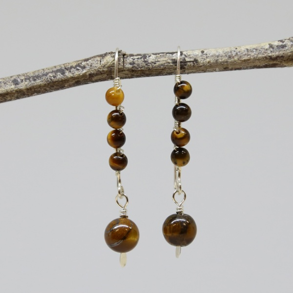 Michele's Wearable Art - Tigereye Wrapped Ear Wires with Drop