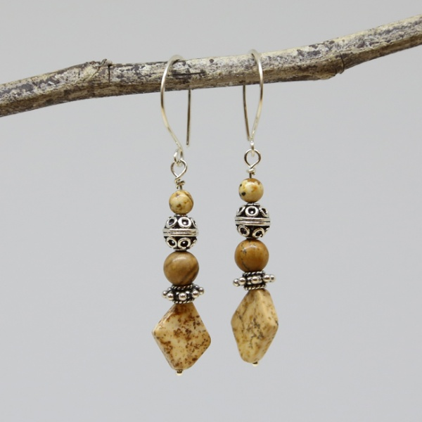Michele's Wearable Art - Picture Jasper and Silver Earrings