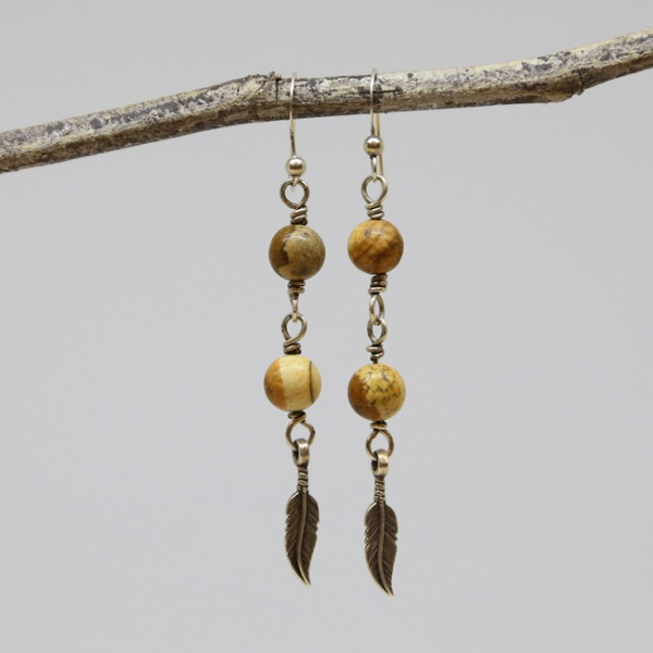 Michele's Wearable Art - Picture Jasper and Feather Drops