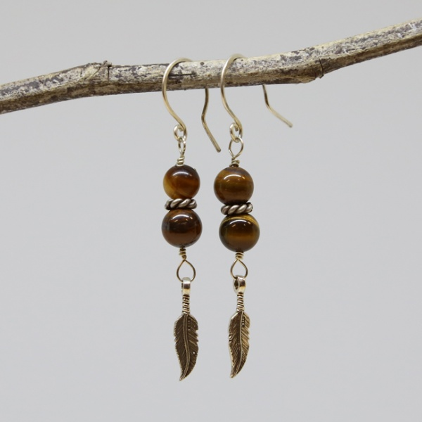 Michele's Wearable Art - Tigereye and Feather Dangles