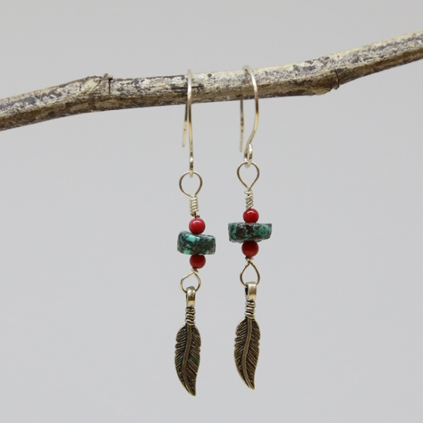 Michele's Wearable Art - African Turquoise, Coral and Feather Earrings