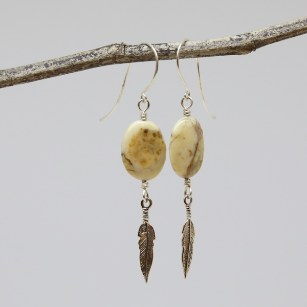 Michele's Wearable Art - Sterling Silver Feathers and Brown Marble Drop Earrings