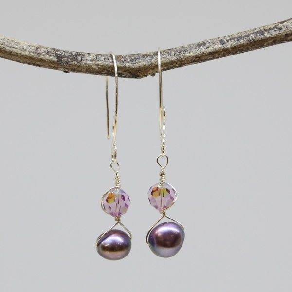 Elegant Michele's Wearable Art - Pearl and Crystal Dangles