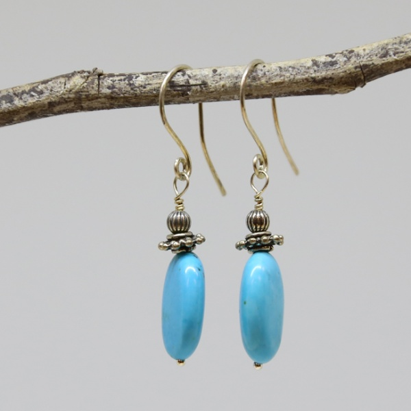 Michele's Wearable Art - Turquoise Magnesite Earrings