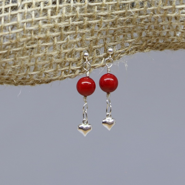 Michele's Wearable Art - Hearts with Red Coral Drops