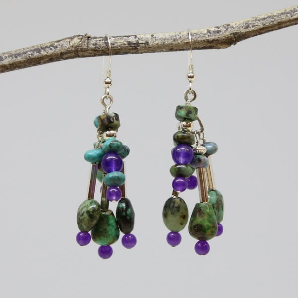 Michele's Wearable Art - African Turquoise and Amethyst Chandelier Earrings