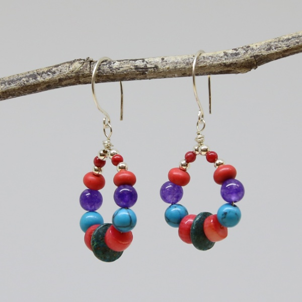 Michele's Wearable Art - Teardrops of Coral, Magnesite and Lapis