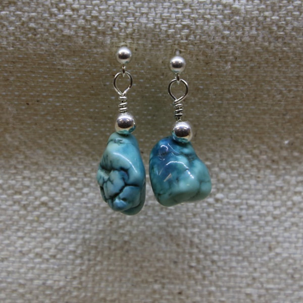 Michele's Wearable Art - Turquoise Nugget Ear Studs