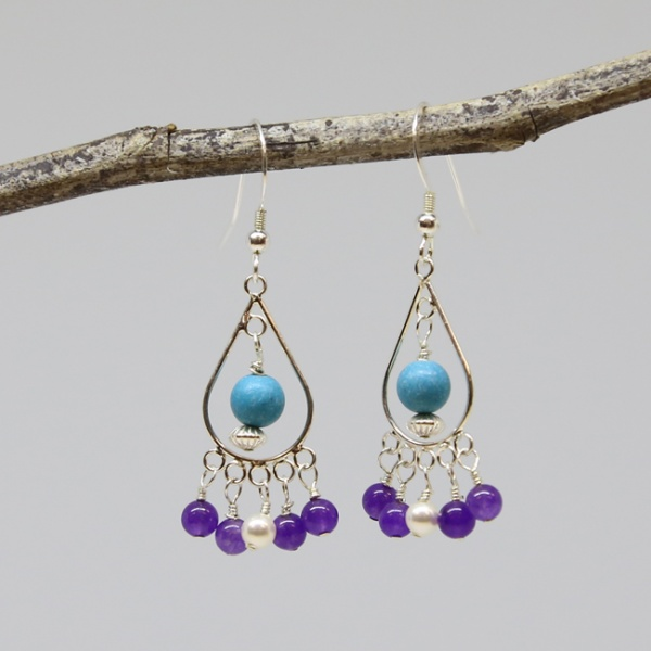 Michele's Wearable Art - Amethyst, Pear and Turquoise Magnesite