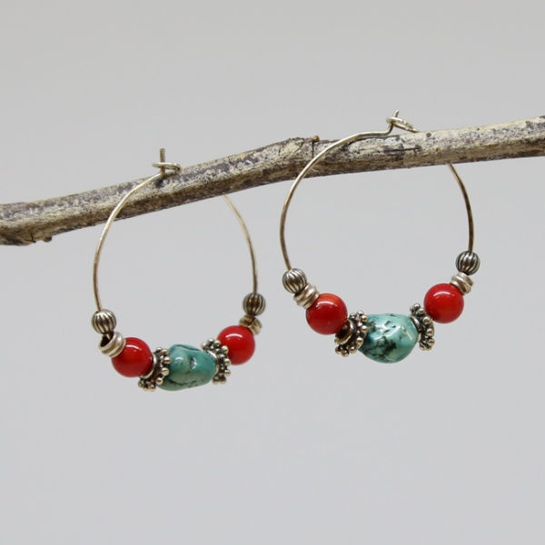 Michele's Wearable Art - Hoops of Turquoise and Coral