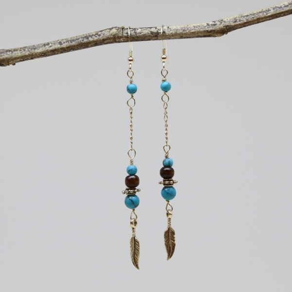 Michele's Wearable Art - Turquoise Magnesite, Wood and Feathers