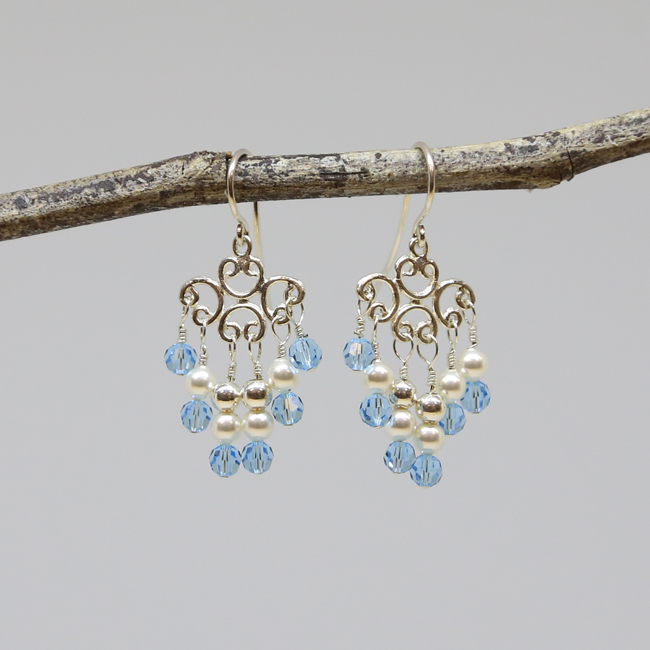 Michele's Wearable Art - Blue Crystal and Pearl Chandeliers