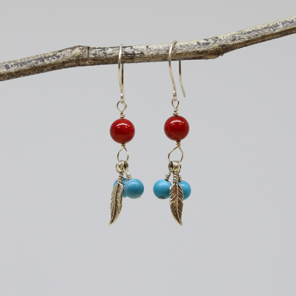 Michele's Wearable Art - Feathered Red Coral and Turquoise Magnesite Earrings