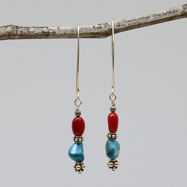 Michele's Wearable Art - Blue Turquoise Nuggets and Red Coral